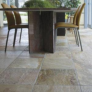 sealed ceramic dining room floor