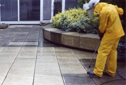 Deep cleaning a patio