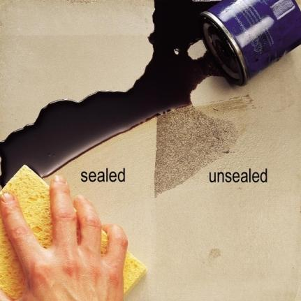 Before and after sealing a tile